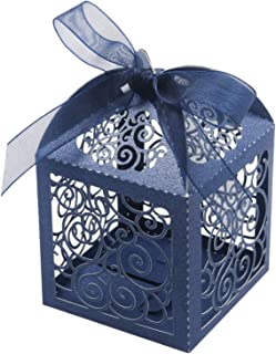 KPOSIYA 100 Pack Wedding Favor Boxes Laser Cut Boxes Party Favor Box Small Gift Boxes Lace Candy Boxes for Wedding Bridal Shower Baby Shower Birthday Party Anniverary with Ribbons (Navy, 100)