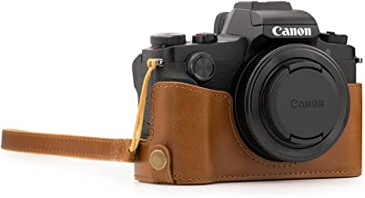 MegaGear Ever Ready Leather Camera Half Case Compatible with Canon PowerShot G1X Mark III