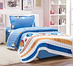 Kids 3Pcs Compressed Comforter Set, Single Size, Summer By Moon, Blue, Microfiber