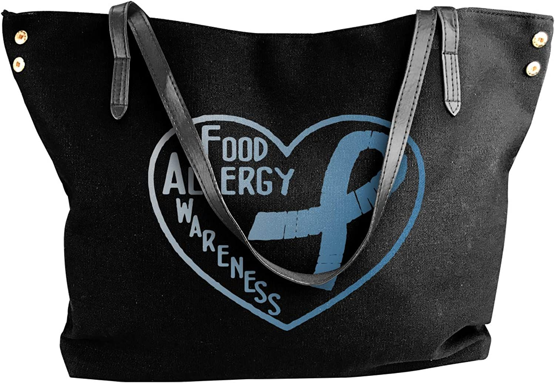 Food Allergy Awareness Women'S Leisure Canvas Shoulder Bag For Shopping Handbag