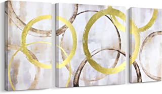 3 Piece Canvas Print Abstract Contemporary Wall Art Gold Foil Interlaced Circles Big/Large Wall Decor Stretched on Wood (3 panles,28x56 Inch)