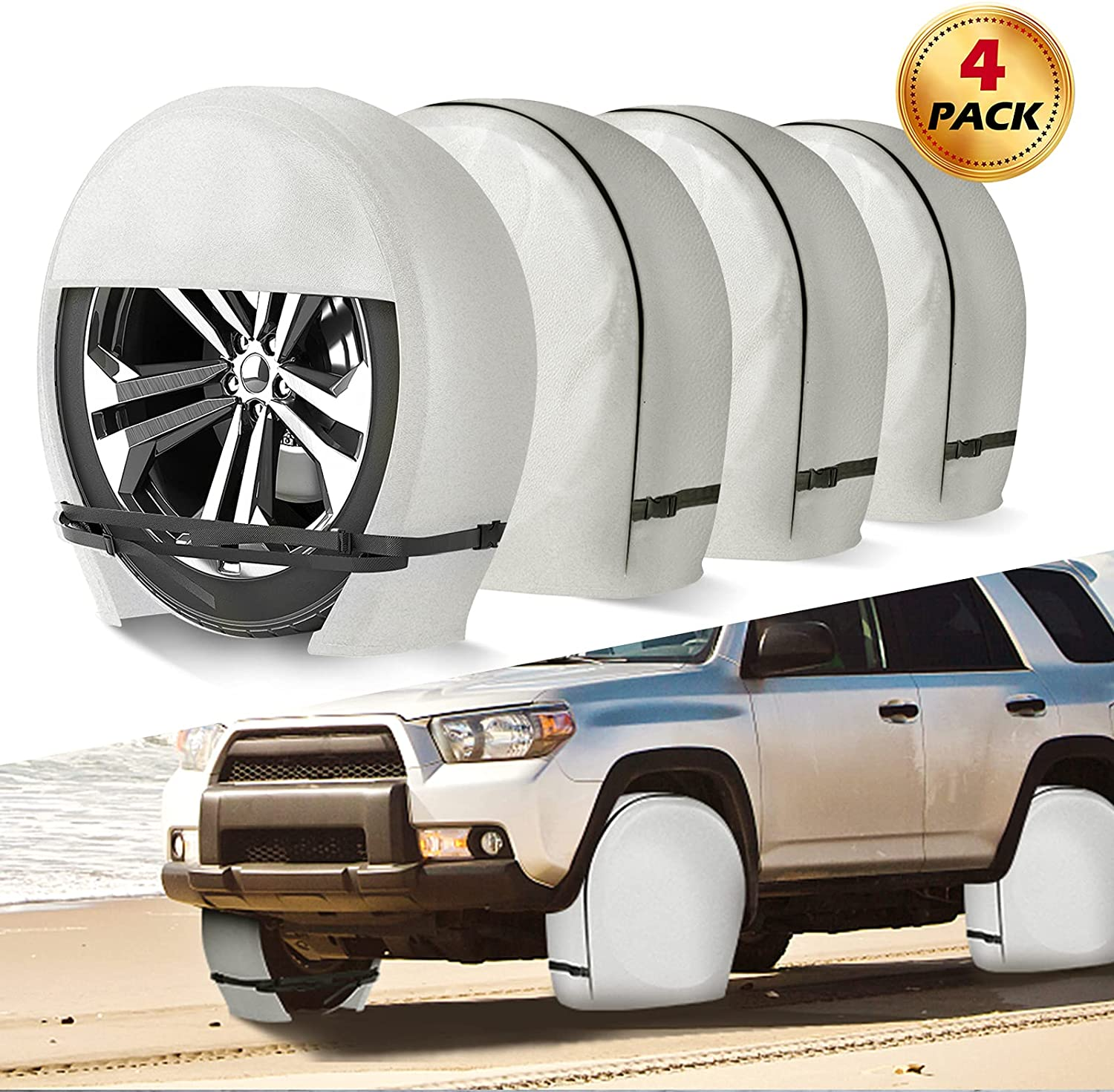 NORTHING RV Tire Covers Set of 4, Upgraded Heavy Duty Vinyl RV Wheel Covers Tire Protectors for Trailer, Camper, Truck, SUV, Motorhome, Fits Tire Diameters 26