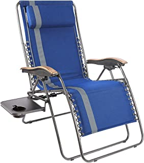 PORTAL Padded Zero Gravity Lounge Chair, Oversized XL Folding Patio Lawn Recliner Chairs with Headrest Side Table,Support ...
