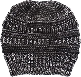Wiwsi Winter Warm Women Knit Ponytail Beanie Hat Crochet Skullies Cap Beanies