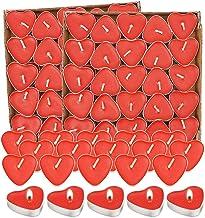 Bougie Chauffe Plat,Bougies 100 PièCes,Bougie Decorative,Bougie Rouge Romantique,Bougie Coeur,Pour La Saint-Valentin,Deman...