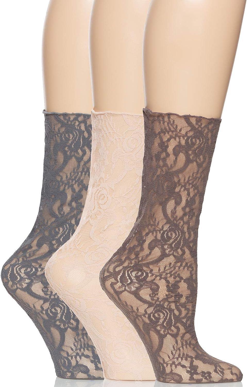 Felina   Lace Crew Socks   Cut & Sew   3-Pack