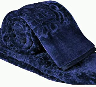Cloth Fusion Celerrio Mink Blanket for Winter (Double, Navy Blue)