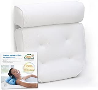 Feelkaus Bathtub Spa Pillow For Head Neck Shoulder Back Support and Relax, Non Slip Bath Pillow with 4 Big Strong Suction Cups, Spa Cushion Rest Fast Drying Fits Any Tubs
