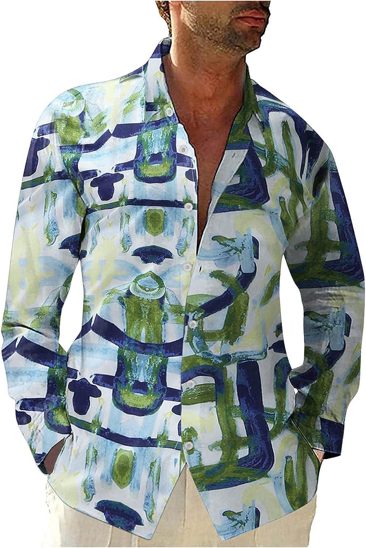 FORUU Men's Long Sleeve Shirts 2021 Fall Elegant Button Down Shirts Printed Casual Lapel Loose Plus Size Vintage Shirt