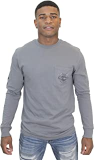Mens More to Speed Racing Flags Pocket Grey Long Sleeve T-Shirt