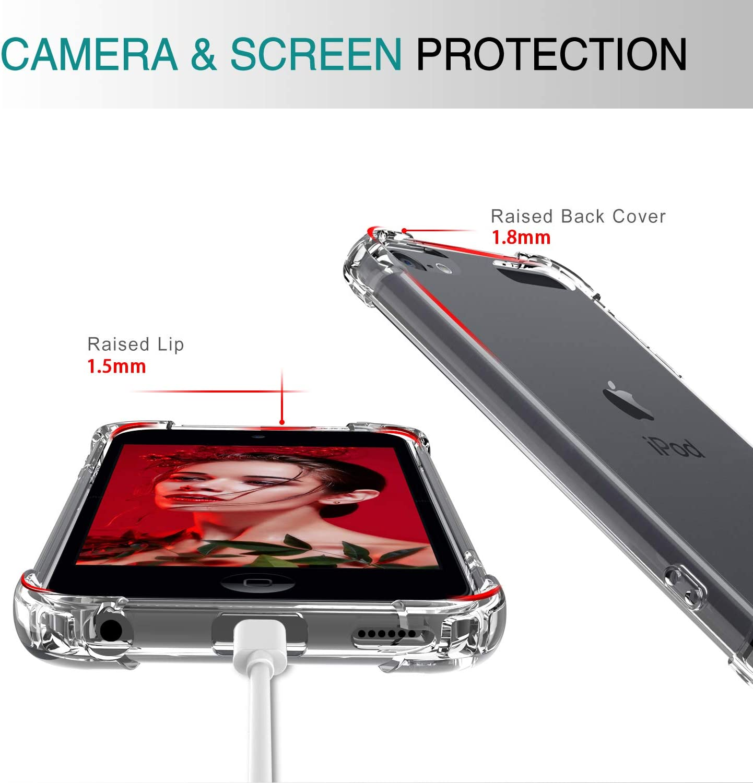 2 St/ück Transparent Cover Air Cushion Bumper Schutzh/ülle Handy H/üllen f/ür Case Apple iPod Touch 5th 6th 7th Handyh/ülle Crystal Clear LeYi f/ür iPod Touch 6//7 // 5 H/ülle mit Panzerglas Schutzfolie