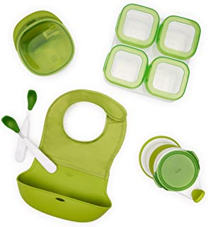 OXO Tot Complete Mealtime Prep Value Set with Roll-up Bib, Feeding Spoons, Food Masher, Baby Food Mill and Four 4oz Baby B...