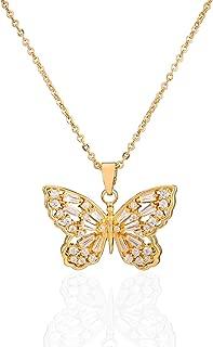 JYSP Butterfly Jewelry Women Girls 18K Pendant Gold Necklace Fashion Gift