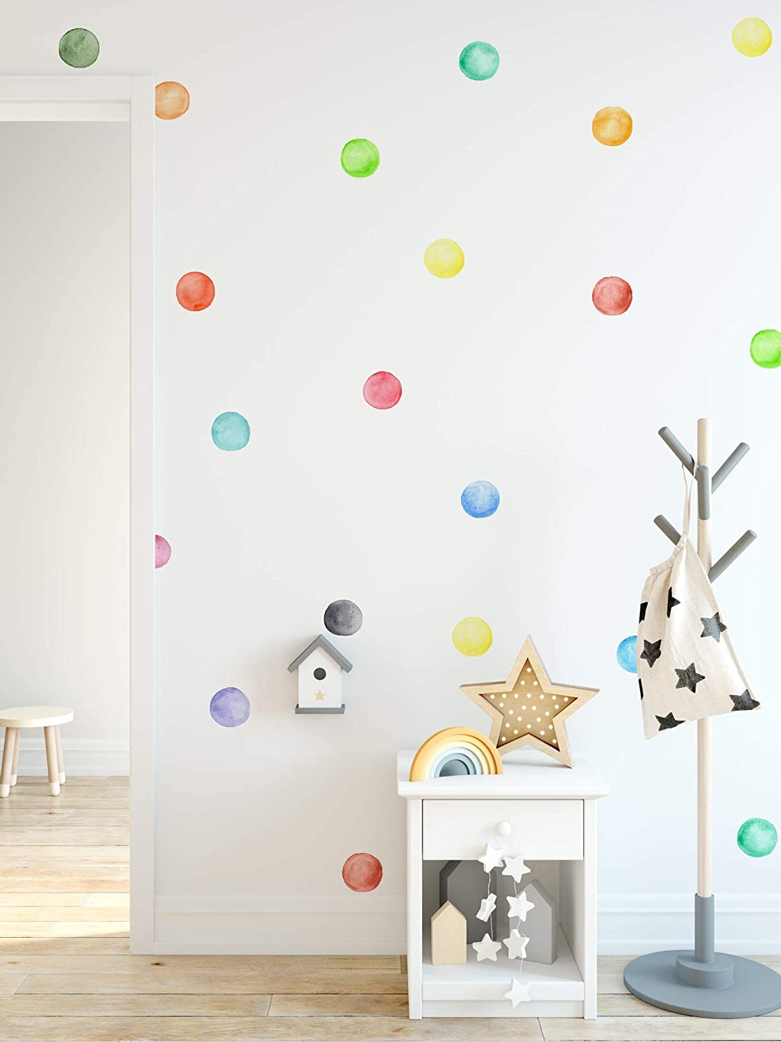 Murwall Polka Dots Wall Stickers Watercolor Over item handling ☆ Colorful Decal Spasm price