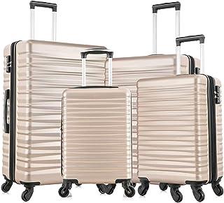 Fridtrip 4 PCS Luggage Sets TSA Lock Travel Suitcase Hardshell Carry On Luggage with Spinner Wheels (TSA Lock Champagne Gold)