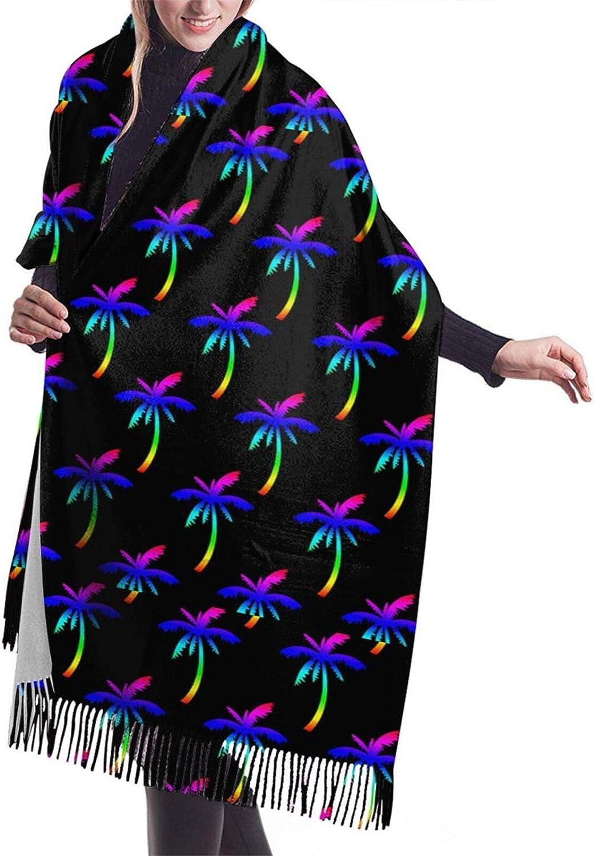 Womens Soft Cashmere Scarf,Neon Palm Trees Shawl Scarf,Premium Large Pashmina,Warm Wrap Blanket Solid Shawl Elegant Wrap