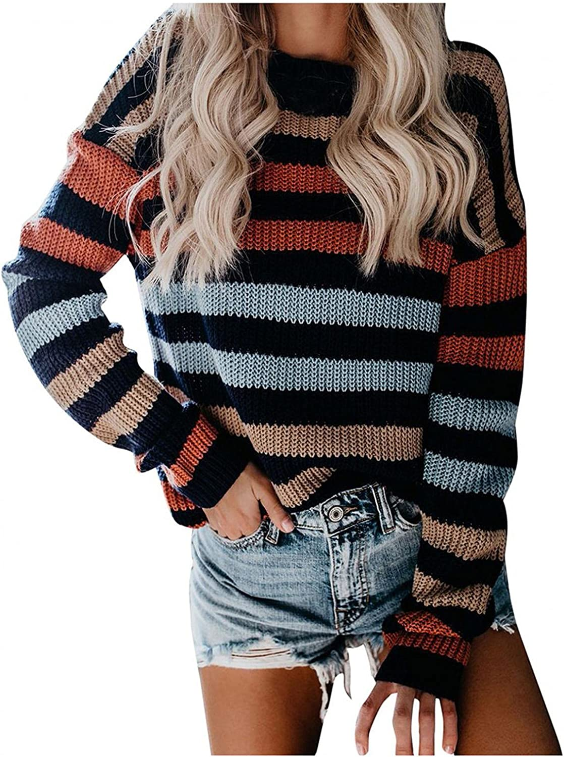 Xinantime Women's Striped Print Sweaters Round Neck Flared Long Sleeve Tops Pullover Color Block Knitted Shirt Blouse