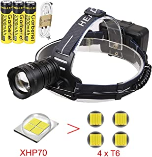 T6 LED XHP70 Headlamp Rechargeable with 18650 Batteries,3 Modes LED Headlight, Waterproof Head flashlight for Camping Outdoors