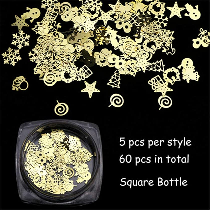 Hollow Xmas Manicure Stickers 3D Decoration Christmas Decal Nail Art Flakes (Size - Square Bottle 60 Pcs)