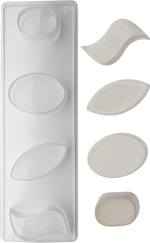 4 teilig Ovale Motive Tiefe 3cm Seifengießform