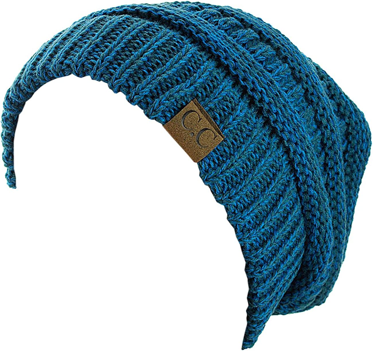 C.C Trendy Warm Chunky Soft Stretch Cable Knit Beanie Skully, Teal/Blue