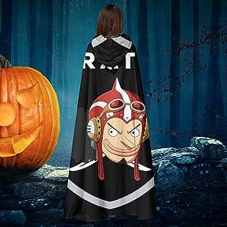 One Piece Usopp Raiders Logo Unisex Christmas Halloween Witch Knight Hooded Robe Vampires Cape Cloak Cosplay Costume Black