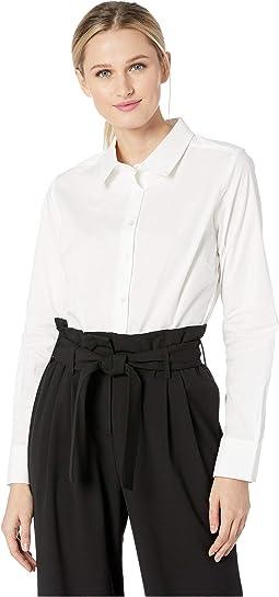 Cotton Woven Button Down Long Sleeve Bodysuit BDS141