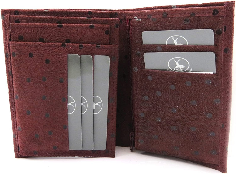 European leather wallet 'Frandi' bordeaux (peas).