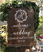 Custom Wedding Sign Welcome to Our Wedding Decal Vinyl Monogram Name Decal Wooden Rustic Wedding Decor (22.5