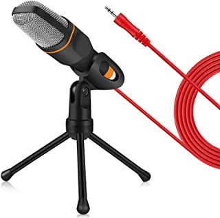 ZeroPlusOne® PC Microphone with Mic Stand, Professional 3.5mm Jack Recording Condenser Microphone Compatible with PC, Lapt...