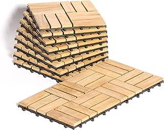 Le Click - Teak Interlocking Flooring Tiles - Windmill Pattern - Natural Finish (10 Square Feet)
