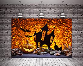Kate 7X5ft (220cmX150cm) Golden Halloween Photography Backdrops Bat Castle Shiny Booth Props for Photo Background