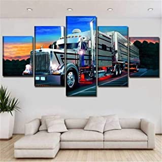 JESC Semi Trailer Long Haul Trucking Truck Posters Canvas Modern 5 Panels Prints Pictures Paintings on Canvas Wall Art Ready to Hang for Living Room Bedroom Home Decorations