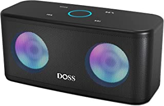 DOSS SoundBox Plus Portable Wireless Bluetooth Speaker with HD Sound and Deep Bass, Wireless Stereo Pairing, Built-in Mic, 20H Playtime, Wireless Speaker for Phone, Tablet, TV, and More.-Black