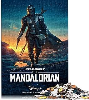 RomantiassLu Mandalorian Puzzles 1000 pièces pour Adultes et Enfants Star Wars Movie Poster Puzzles Lumineux et colorés Ca...