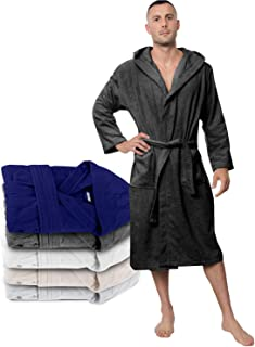 Bathrobe Men - 100% Turkish Cotton - No Chemicals, Hood,...