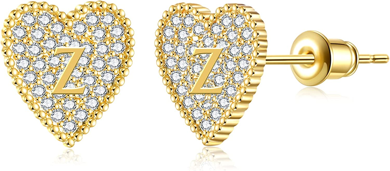 5 ☆ Ranking TOP18 very popular RWQIAN Heart Initial Stud Earrings Girls Women's for Dainty A-Z