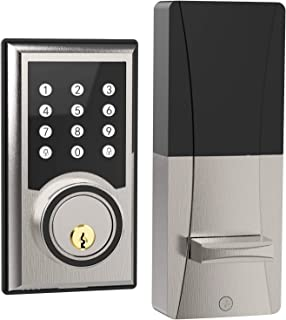 TURBOLOCK TL-201 Electronic Keypad Deadbolt Keyless Entry Door Lock w/Code Disguise, 21 Programmable Codes, 1-Touch Locking + 3 Backup Keys, Brush Nickel