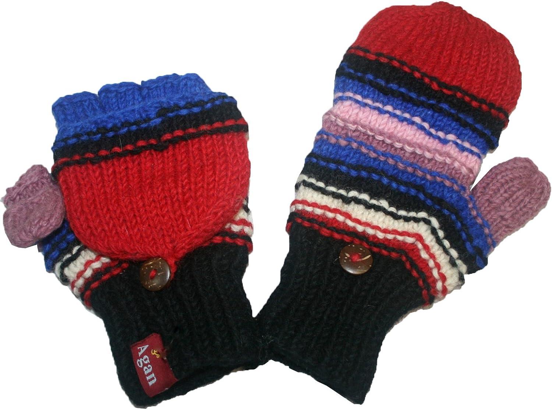 1407 Agan Traders Himalayan Sheep Wool Fleece Hand Knitted Naubala Mitten Glove