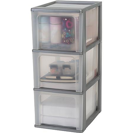 Amazon Basics 135671 Tour de rangement 3 tiroirs Organizer Chest, Plastique, Gris, 3 x 13 L