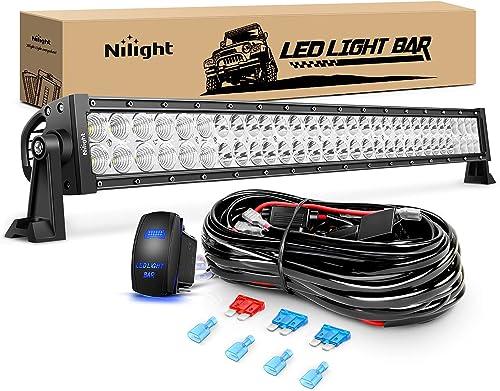 Nilight LED Light Bar 32Inch 180W Spot Flood Combo Led Off Road Lights 12V 5Pin Rocker Switch LED Light Bar Wiring Harness Kit, 2 Years Warranty (ZH079)