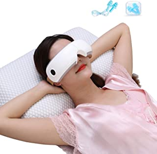 HEZHENG Electric Portable Eye Massager with Heat for Dry Eyestrain Fatigue Relief, Air Compression Shiatsu Massage for Dark Circles, Vibration and Music for Relieve Eye Stress (Larger Size)