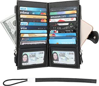 RFID Blocking Credit Card Holder Bifold Genuine Leather Wallets for Women with Wristlet Two Large Zipper Pockets