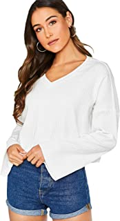 SheIn Women's Casual V Neck Bell Long Sleeve Shirt Solid Rib Knit Basic Tee Blouse Top