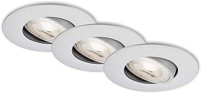 Briloner Leuchten – Luminaire LED, set de 3 lampes de plafond, module LED pivotable, 5 Watt par lampe, 460 Lumen par lampe, 3.000 Kelvin, IP23, chrome mat, 90x24mm (DxH)