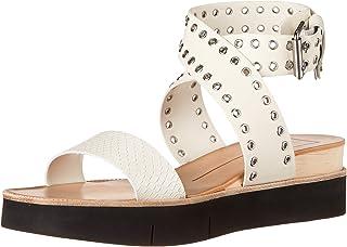 Dolce Vita Women's Panko Stud Wedge Sandal, WHITE EMBOSSED LEATHER, 7.5