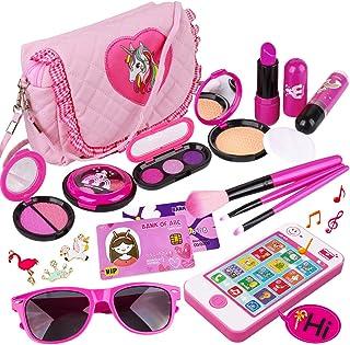 کیت آرایش کودکان و نوجوانان - Girl Pretend Play Makeup & First کیف پول اسباب بازی من را برای هدایای کودک نوپا از جمله کیف پول شاهزاده خانم صورتی ، گوشی هوشمند ، عینک آفتابی ، کارت اعتباری ، رژ لب ، برس ، برس ، چراغ روشن و ایجاد زندگی واقعی