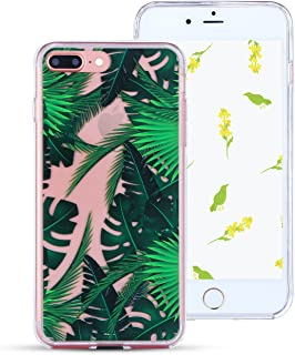 iPhone 8 Plus Case Clear iPhone 7 Plus Case Slim,iPhone 8 Plus Phone Case Shockproof,Hard PC Back Silicone Hybrid iPhone 7 Plus Cover Impact Resistant Protective Cover for Apple iPhone 8/7 Plus Leaf