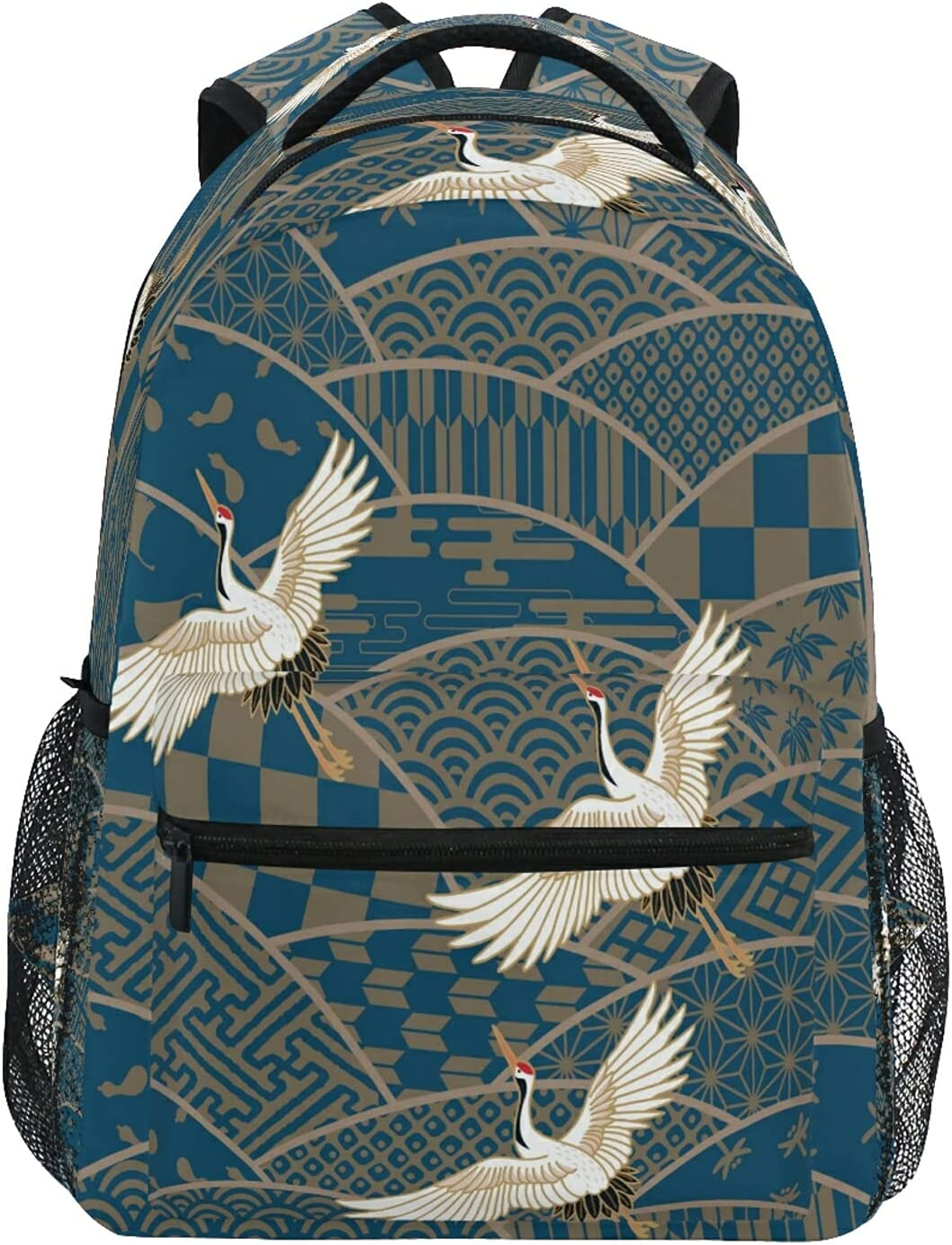 UWLIFE Max 67% OFF Limited time cheap sale Japanese Bird Crane Pattern Boy for Girl School Backpack