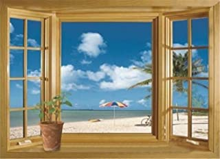 3D Beach Window View Removable Wall Stickers Vinyl Decal Home Decor Deco Art
